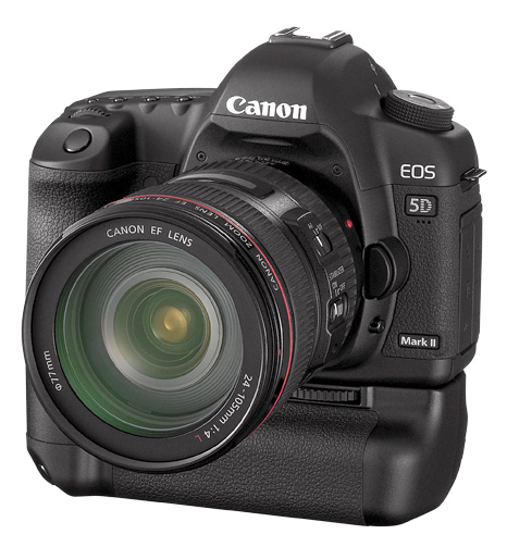 The Canon 5D Mark II Digital SLR camera automatically conducts peripheral